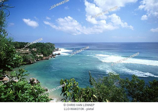Scenic View of Ocean and Houses  Padang-Pandang, Bali, Indonesia