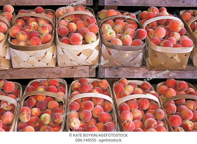 Baskets of peaches. Farmers' market