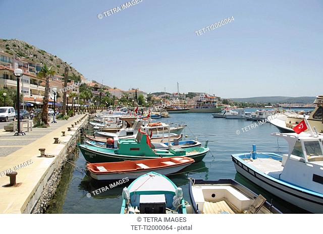 Turkey, Cesme, boats in harbor