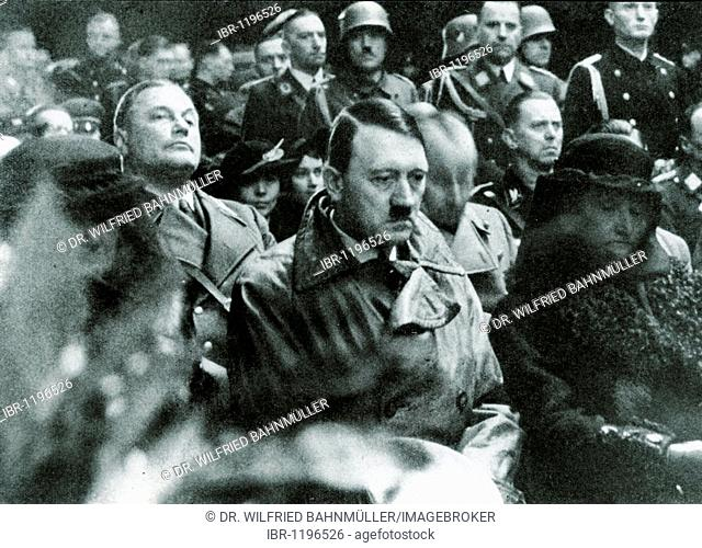 Adolf Hitler at the state funeral of Hans Schemm, who died March 5th 1935 in an air crash, historical photo
