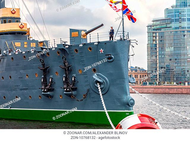 ST. PETERSBURG, RUSSIA - JULY 29, 2016: The legendary revolutionary cruiser Aurora at the place of eternal parking on the Petrograd embankment