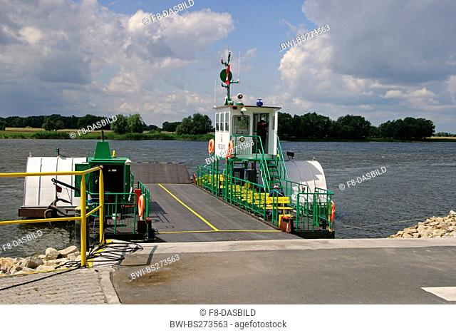 car ferry at riverbank of Elbe between Poland and Germany, Poland, West Pomeranian Voivodeship, Gozdowice
