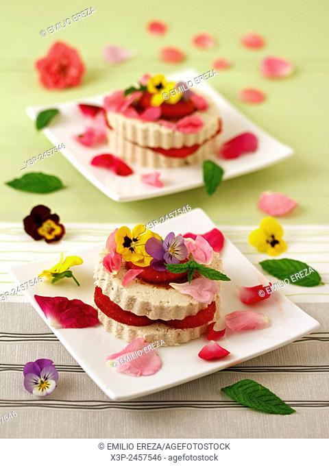 Tofu with strawberries and flowers