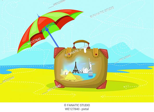 Illustrative image of luggage and umbrella representing insured world tour
