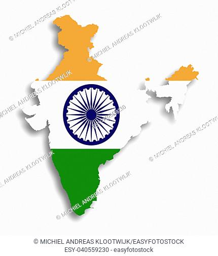 Map of India filled with flag, isolated
