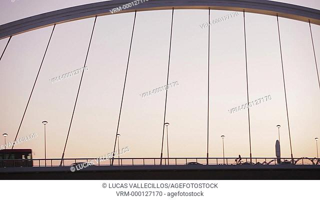Bridge of La Barqueta, in the river Guadalquivir, Seville, Andalusia, Spain