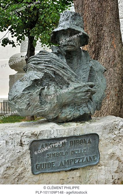 Statue of mountain guide Angelo Dibona at Cortina d''Ampezzo, Dolomites, Italy