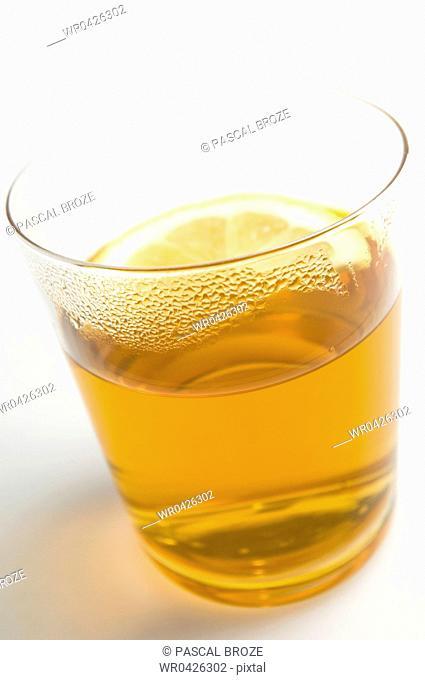 Close-up of a glass of lemon tea
