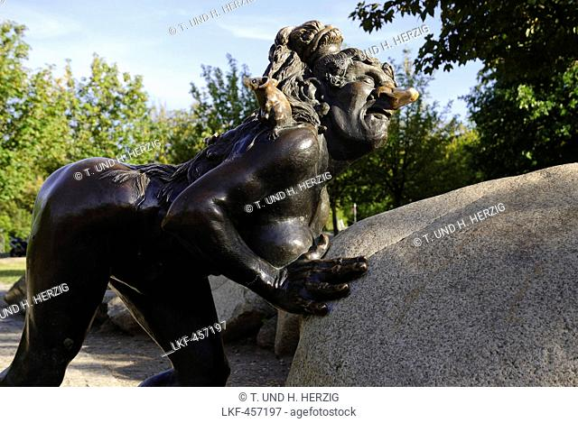 Witch sculpture on the Hexentanzplatz square, Thale, Harz, Saxony-Anhalt, Germany, Europe