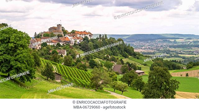 View of Regensberg and the Surbtal in the Zurich lowland