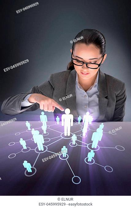 Woman in social networks concept