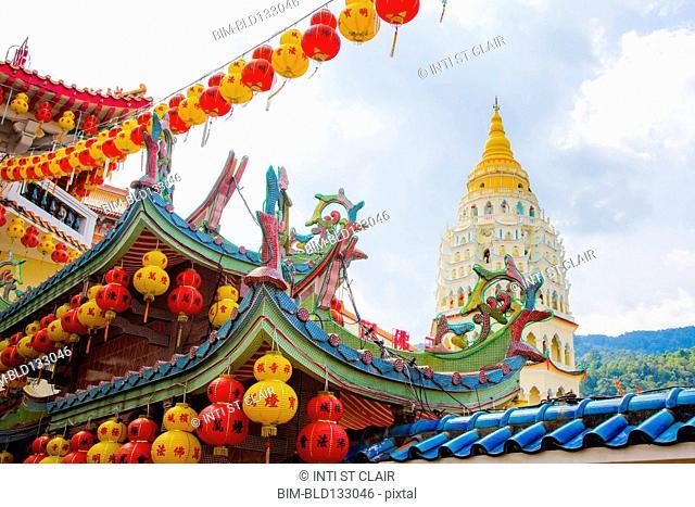 Chinese lanterns hanging at Kek Lok Si temple, George Town, Penang, Malaysia