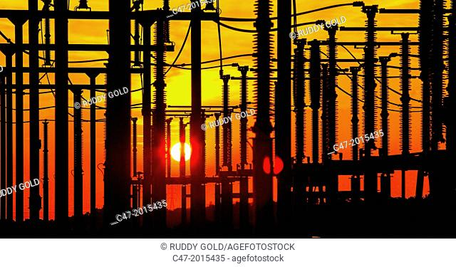 Electric Substation of Pujalt at sunset, eolic park of Pujalt around Sant Marti Sesgueioles, Anoia region, Barcelona province, Catalonia, Spain