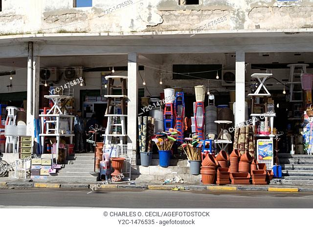 Tripoli, Libya - Plastic Circle  Plastic Utensils and Household Items for Sale  Chairs, Tables, Pots, Brooms