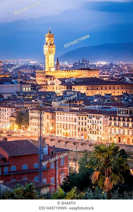 Night view of Florence, Italy