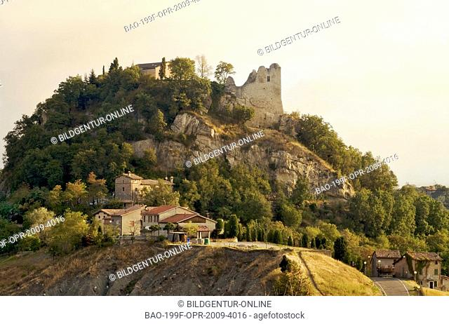 Image of the Castle of Canossa in Canossa, province of Reggio Emilia, northern Italy. It is especially known as the seat of the Walk to Canossa
