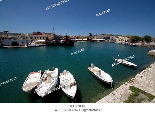 SPEED BOATS & HARBOUR BUILDINGS; RETHYMNON, CRETE, GREECE; 02/05/2014