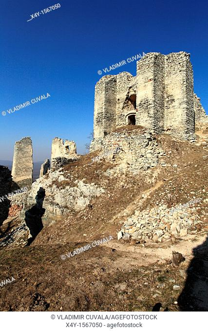 The ruins of medieval castle Gymes in Tribec mountains, located near the village Kostolany pod Tribecom, Slovakia