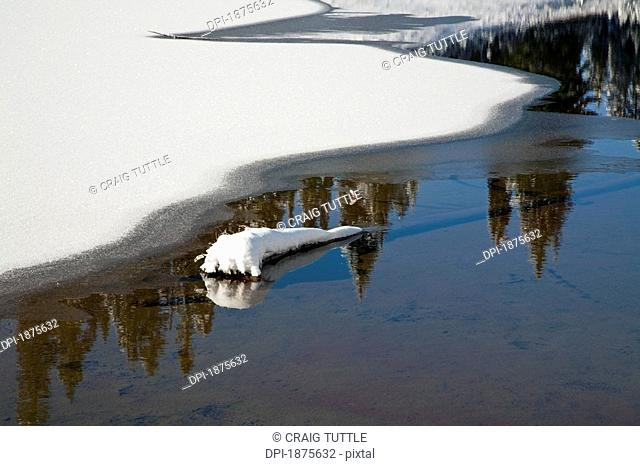 Washington, united states of america, snow around tipsoo lake in mt. rainier national park