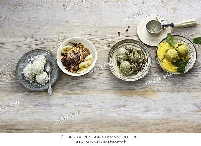 Vegan ice cream and sorbet made from banana, coconut, avocado and pumpkin seeds