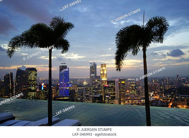 View of the Central Business District from Sands SkyPark Infinity Pool, Marina Bay Sands Hotel, Singapore, Asia