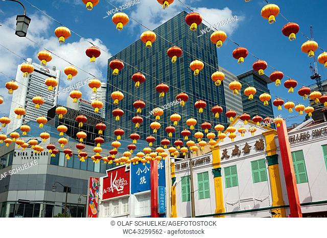 Singapore, Republic of Singapore, Asia - Annual street decoration with lanterns along South Bridge Road for the Chinese Lunar New Year celebration in...