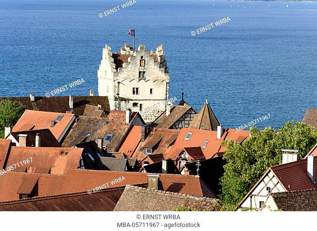 View at Meersburg and Überlinger lake, Lake of Constance, Baden-Wurttemberg, Germany