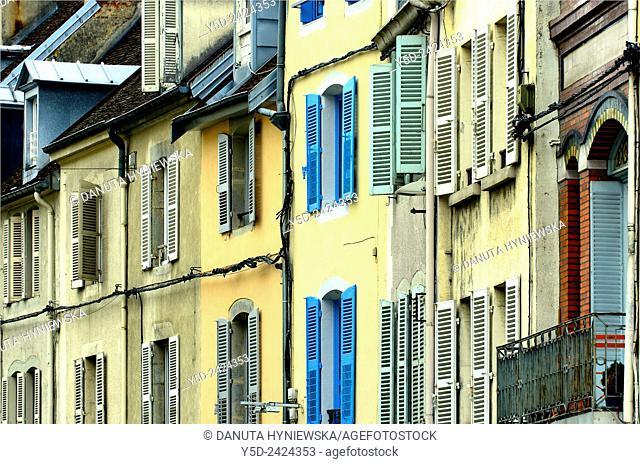 Lons-le-Saunier, architectural details - facades of houses in city center, capital of Jura department - préfecture (39), region Franche-Comté, East of France