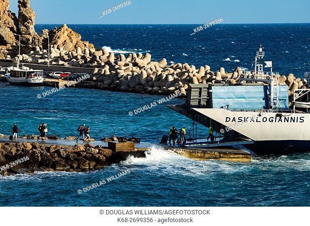Ferry boat at Chora Sfakion, southern Crete, Greece