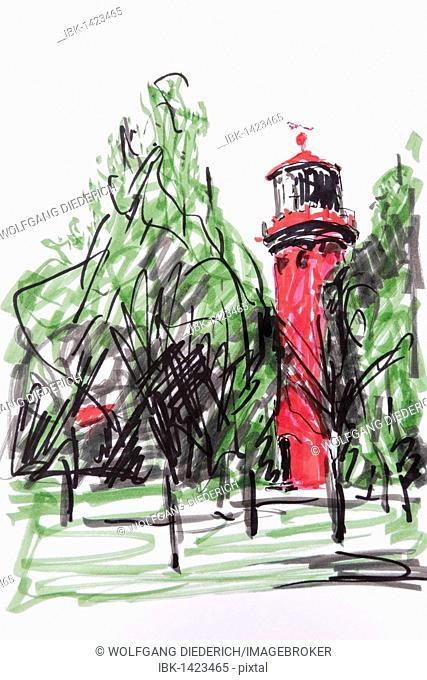 Staberhuk Lighthouse, Fehmarn, Schleswig-Holstein, North Germany, drawing by artist Gerhard Kraus, Kriftel