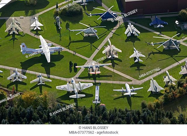 Aerial photo, Flight exhibition L. + P. Junior Private Aviation Museum, Antonow An-26, Concorde, Messerschmitt Bf 108, F-104 Starfighter, McDonnell F-4 Phantom