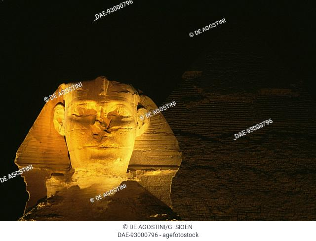 View of the Great Sphinx of Giza at night, Giza Necropolis (UNESCO World Heritage List, 1979). Egyptian civilisation, Old Kingdom, Dynasty IV