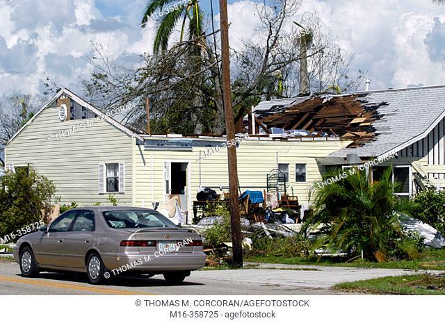 Hurricane Charley. Punta Gorda. Wrecked home