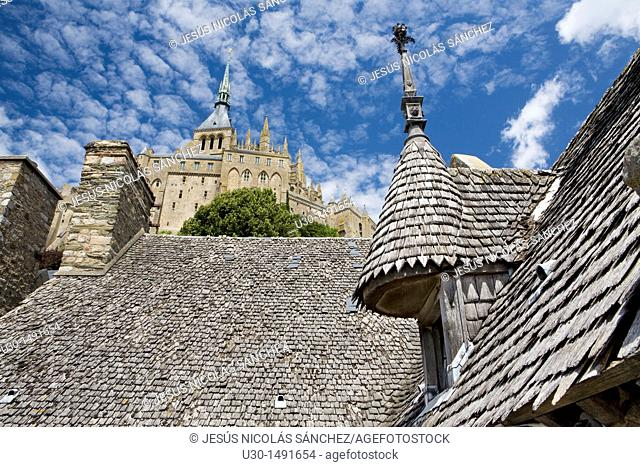 Typical and old houses under Mont-Saint Michel abbey, listed as World Heritage by UNESCO, Manche department, Lower Normandie region, France