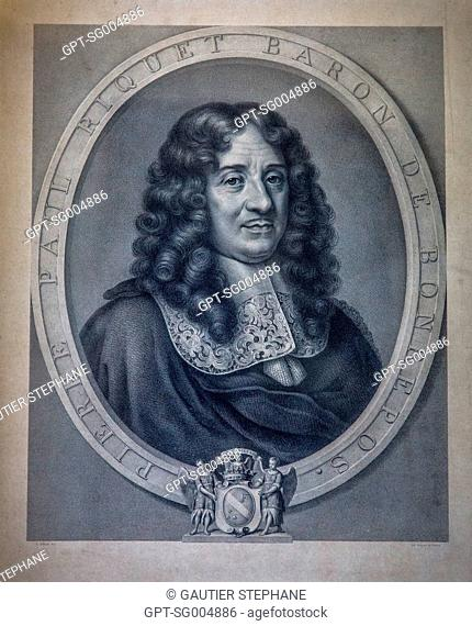 ENGRAVING OF PIERRE PAUL RIQUET, DEPARTMENT OF HISTORICAL ARCHIVES OF THE CANAL DU MIDI, TOULOUSE, (31) HAUTE-GARONNE, FRANCE