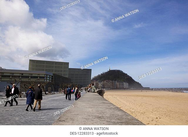 The two glass cubes of the Kursaal, cultural centre, next to the Rio Urumea and the Zurriola beach in the Gros district of the city; San Sebastian, Spain