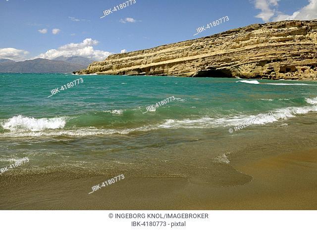 Rocks on the beach of Matala, south coast, Crete, Greece