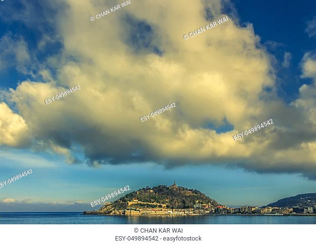 Dramatic clouds above San Sebastian, Spain in the late afternoon