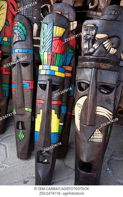 Wooden masks for sale at the shop, Isla Mujeres, Cancun, Quintana Roo, Yucatan Province, Mexico, Central America