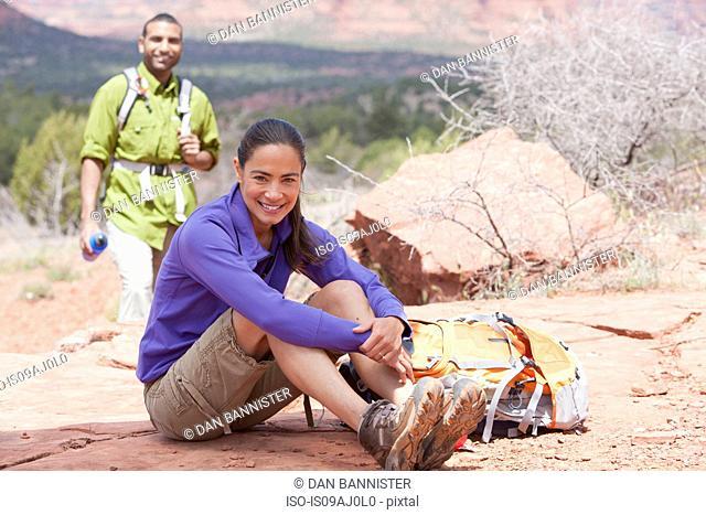 Portrait of mature female hiker and her boyfriend, Sedona, Arizona, USA