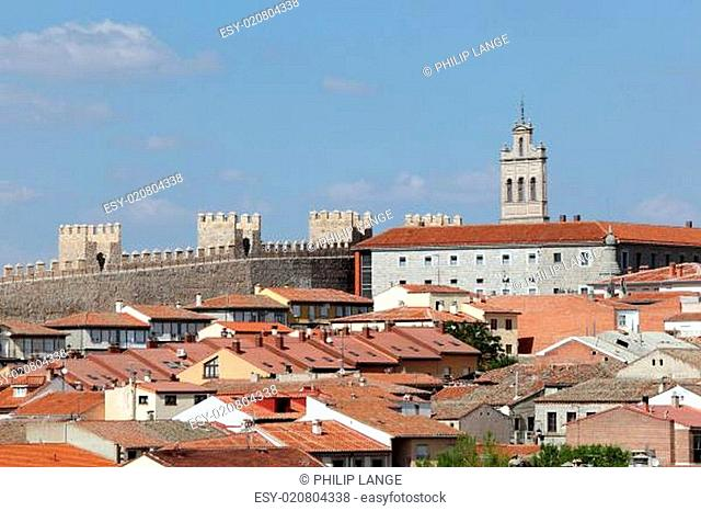 Medieval city walls and houses in the old town of Avila, Castilla y Leon, Spain