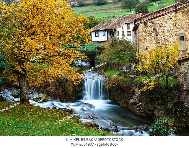 waterfall. Vada, Vega de Liebana village, County of Liebana, Cantabria, Spain