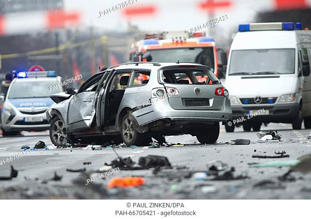 A damaged car pictured on Bismarckstrasse (Bismarck Street)in Berlin, Germany, 15 March 2016. The driver died when an explosion occurred in the vehicle while...
