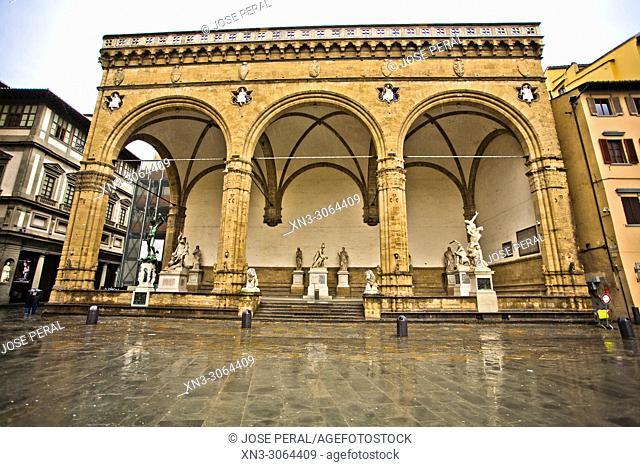 Loggia dei Lanzi, Loggia della Signoria, Piazza della Signoria square, Florence, Tuscany, Italy, Europe