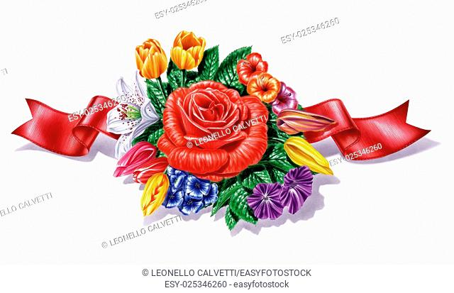 Flowers, different species and multicolor composition, with red ribbon, on white background