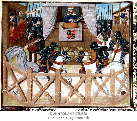 Richard II, King of England, presiding at a tournament, 1377-1379 (15th century). Watched by the king, mounted knights in armour joust with lances
