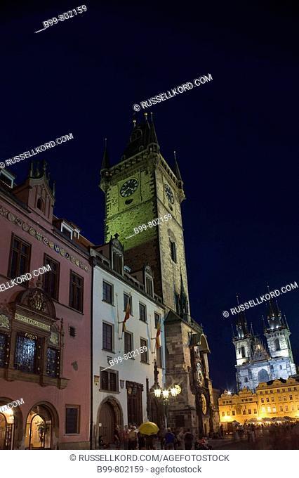 Astronomical Clock Tyn Church Old Town Square Staromestske Namesti. Prague. Czech Republic