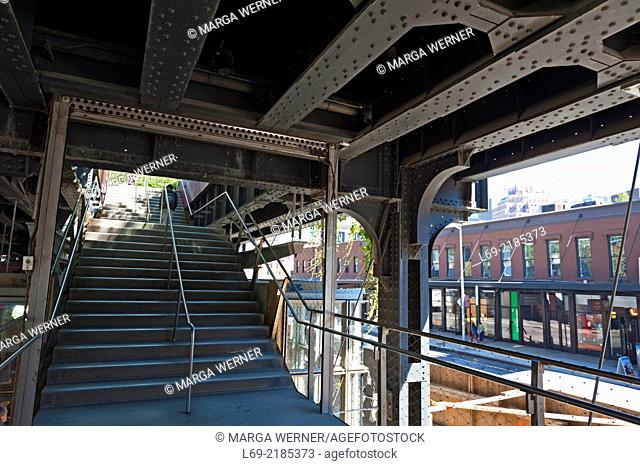 Stairs to High Line Park, Chelsea, New York, USA