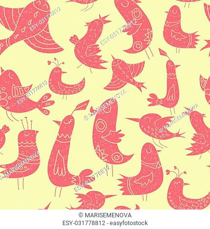 Cute birds pattern. Yellow and pink