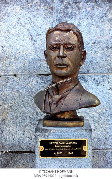 Bust of Heitor da Silva Costa, builder of the statue Cristo Redentor, mountain Corcovado, Rio de Janeiro